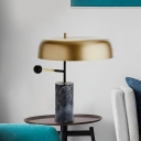 Drum Shaped Table Lamp Contemporary Metal 1 Light Bedroom Desk Light in Gold with Cylinder Base
