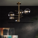 Spherical Ceiling Mounted Fixture Contemporary Clear Glass 6/9 Lights Brass Semi Flush Mount Lighting