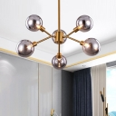 6/8 Lights Ceiling Flush Mount Modern Brass Semi Flush Lighting with Globe Smoke Gray Shade