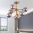 Brass Mini Globe Semi Flush Mount Lighting Contemporary 7/9/10 Lights White/Smoke Gray Glass Ceiling Light