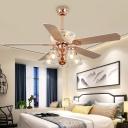 Bell Clear Glass Ceiling Fan Vintage 5 Bulbs Bedroom Semi Flush Light in Rose Gold