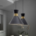 Modern Conical Metal Hanging Light Kit 1 Light Pendant Lighting Fixture in Black for Kitchen