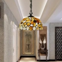 1 Light Suspension Light Tiffany Domed Shade Colorful Stone Ceiling Lamp in Black for Living Room