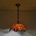 Scalloped Ceiling Pendant Light 2 Lights Stone Tiffany Stylish Down Lighting in Red/Beige for Kitchen