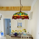 Dragonfly Suspension Pendant Light Tiffany Stained Glass 1 Light Red/Yellow/Blue Hanging Lamp Kit for Kitchen