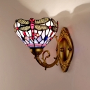 Tiffany Dragonfly Wall Mounted Lighting 1 Light Stained Art Glass Sconce in Brass for Bathroom