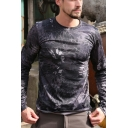 Outdoor Jungle Camo Pattern Long Sleeve Quick-Dry Slim Tactical Sports T-Shirt