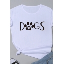 Cute Animal Claw Letter DOGS Printed Short Sleeve Crewneck Leisure T-Shirt