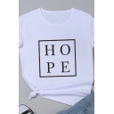 Hot Sale Square Letter HOPE Printed Short Sleeves Crew Neck Summer T-Shirt
