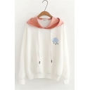 Preppy Embroidered Cloud Letter LOVE Print Colorblocked Drawstring Hood White Hoodie