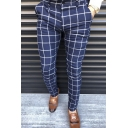 Classic Grid Pattern Zipper Fly Slim Fit Business Pants for Men