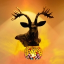 Stained Glass Deer Head Sconce Light Fixture Mediterranean 1 Light Yellow/Blue/White Wall Mounted Lamp for Corridor