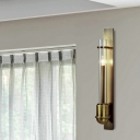 Column Clear Glass Sconce Traditionalism 1 Head Living Room LED Wall Light Fixture in Brass
