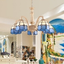 Blue/Yellow Grid Patterned Chandelier Lighting Fixture Tiffany 3/5 Lights Cut Glass Hanging Ceiling Light