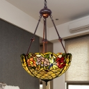 Stained Glass Dome Chandelier Light Tiffany 2 Lights Yellow/Orange/Green Pendant Lighting Fixture for Living Room