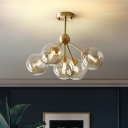 Contemporary 5 Heads Ceiling Chandelier Brass Ball Hanging Light Fixture with Amber Glass Shade