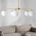 White Glass Spherical Ceiling Chandelier Modernism 5 Bulbs Hanging Pendant Light in Brass