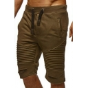 Men's Vintage Pleated Ripped Detail Drawstring Waist Solid Color Summer Shorts