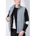 Mens Popular Gray Reflective Lapel Collar Zip Closure Loose Fit Outdoor Vest Coat