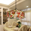 2/3 Lights Blossom Pendant Chandelier Mediterranean Red Hand Cut Glass Hanging Light Fixture, 16