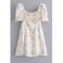 Cute Girls' Ruffle Sleeve Square Neck All Over Floral Print Pintuck Mesh Short A-Line Dress in White