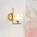 Metal Armed Sconce Light Modernism 1 Head Brass Wall Lighting Fixture for Living Room