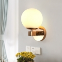Gold Spherical Sconce Light Contemporary 1 Head White Glass Wall Mounted Lighting