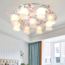 Floral White Glass Ceiling Mounted Fixture Traditional 9 Bulbs Living Room Flush Mount Lamp with Pink Rose Decor