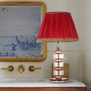 Retro Conical Table Lamp Single Head Clear Crystal Nightstand Light in Red with Fabric Pleated Shade