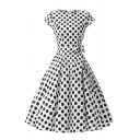 Cute Short Sleeve Crew Neck Bow Tie Waist Polka Dot Printed Midi Pleated Flared Dress for Girls