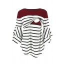 Female Basic Tiered Sleeve Boat Neck Stripe Printed Contrasted Nursing Asymmetric Relaxed Tee