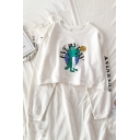 Preppy Girls' Long Sleeve Crew Neck Letter EVERYDAY Dinosaur Print Relaxed Fit Pullover Sweatshirt