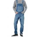 Men's Casual Plain Blue Adjustable Straps Multi Pockets Straight Fit Jeans Coveralls