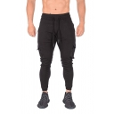Men's Casual Stripe Side Pocket Drawstring Waist Slim Fitted Sports Pants