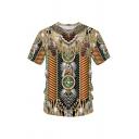 Unisex Fashion Retro 3D Tribal Printed Short Sleeves Indian T-Shirt