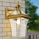 Lantern Outdoor Wall Sconce Traditional Metal 1 Bulb Gold Wall Lighting Fixture