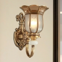 Traditional Bell Sconce Light 1/2-Bulb Brass Metal Wall Lighting Fixture for Bedroom