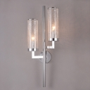Chrome Cylinder Sconce Light Fixture Modern 1/2-Light Smoke Gray Glass Wall Lamp with Pencil Arm