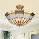 Brass 6 Bulbs Ceiling Light Vintage Metal Dome Semi Flush Mount Chandelier for Indoor