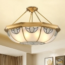 4 Lights Semi Flush Mount Traditional Bowl Ceiling Lighting in Gold for Living Room, 16