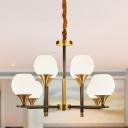 Vertical Chandelier Light Modern Stylish Milk Glass 8 Lights Brass Pendant Lighting with Global Shade