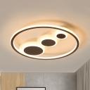 Circle Acrylic Flush Light Fixture Modernism Coffee 18.5