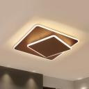 Square Ceiling Light Fixture Minimalist Acrylic Coffee/White 16