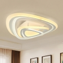 White Triangle Flush Mount Light Contemporary Acrylic LED Ceiling Fixture in Warm/White/Outer Warm Inner White Light