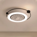 Modern Drum Acrylic Ceiling Light Fixture LED Flush Mount Light in White for Bedroom