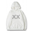 Unique Double Letter X Pattern Long Sleeve Pouch Pocket Baggy Pullover Hoodie