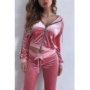 Trendy Striped Long Sleeve Zip Up Velvet Hoodie with Drawstring Waist Pants Two Piece Co-ords