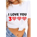 Popular Letter I LOVE YOU 3000 Heart Printed Short Sleeve Round Neck Leisure T-Shirt