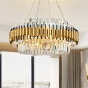 Drum Crystal Block Hanging Light Fixture Postmodern 12 Heads Gold Chandelier Lamp
