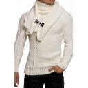 Designer Plain Buckle Detachable Scarf Long Sleeve Cable Knit Pullover Sweater